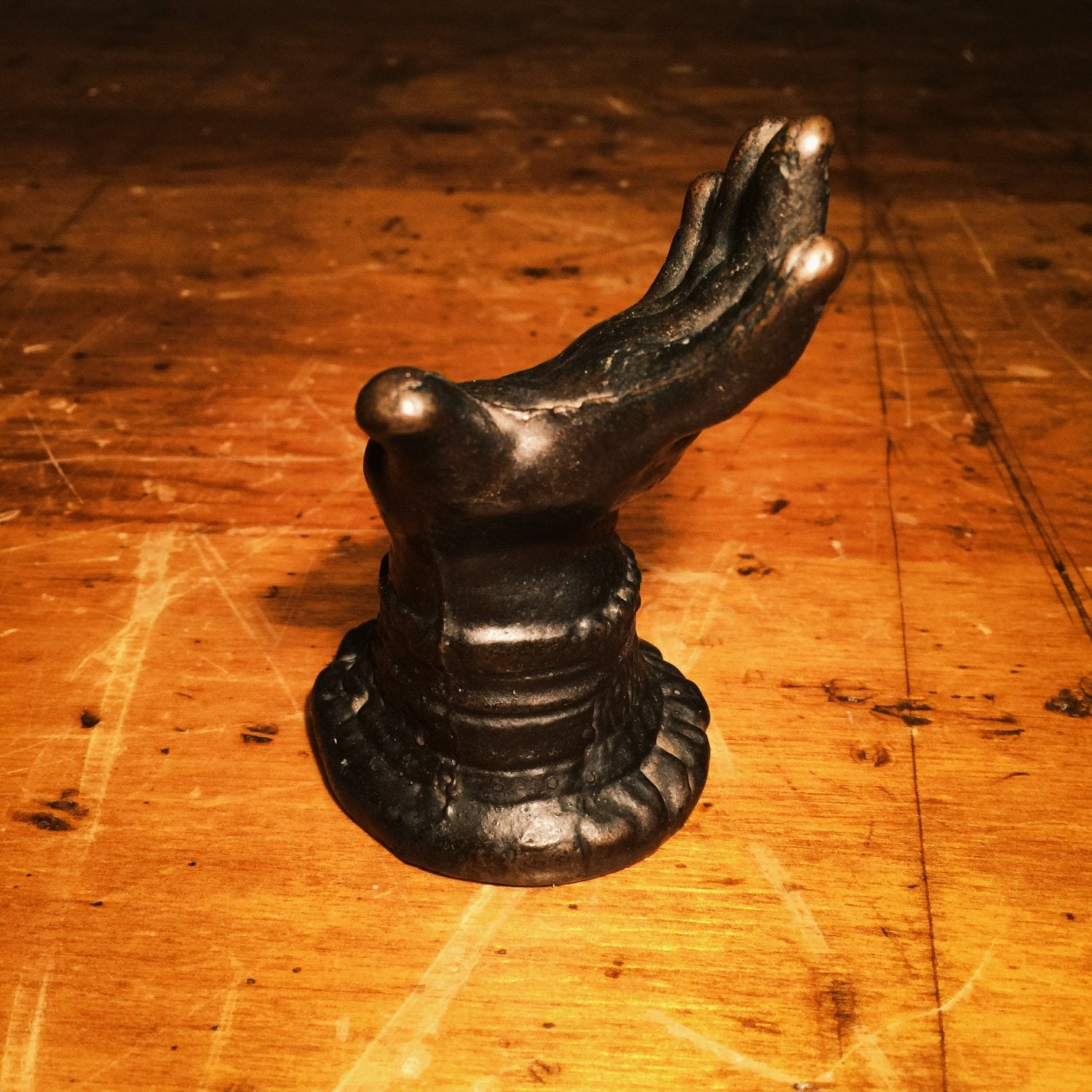 Rare Victorian Paperweight of a Creepy Hand - Cast Iron - Turn of the Century - Ornate Base - Antique - Unusual - Bizarre - Figural