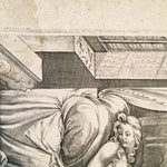 Enea Vico Engraving Print after Parmigianino - Venus and Vulcan - Censored Version - Late 1500's  - Rare
