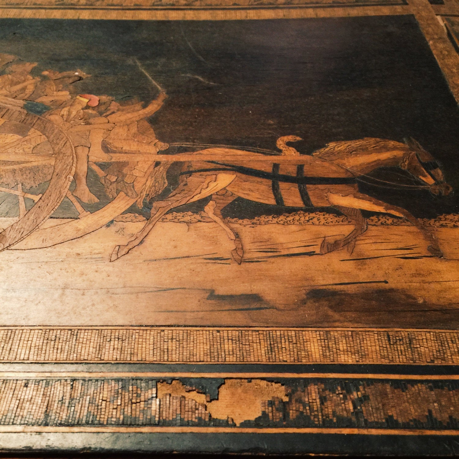 Pyrography Wood Burning of Carriage, Horse, Mob and Whip - Pyrography Art - Flemish? - Mystery artist - Turn of the Century - Antique