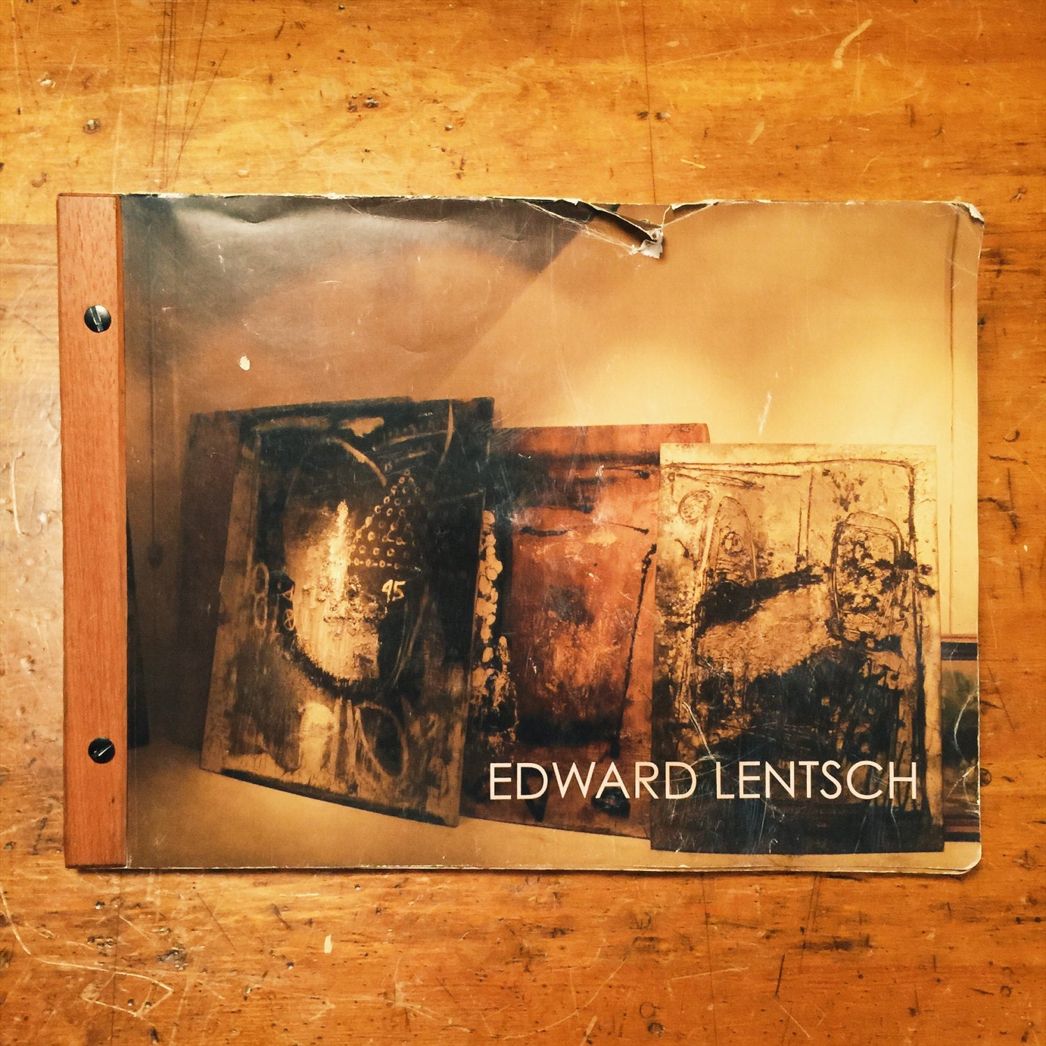 Edward Lentsch Mixed Media Oil on Canvas Painting with Exhibit Book - Industrial - Minnesota Artist - Unsigned - Unframed