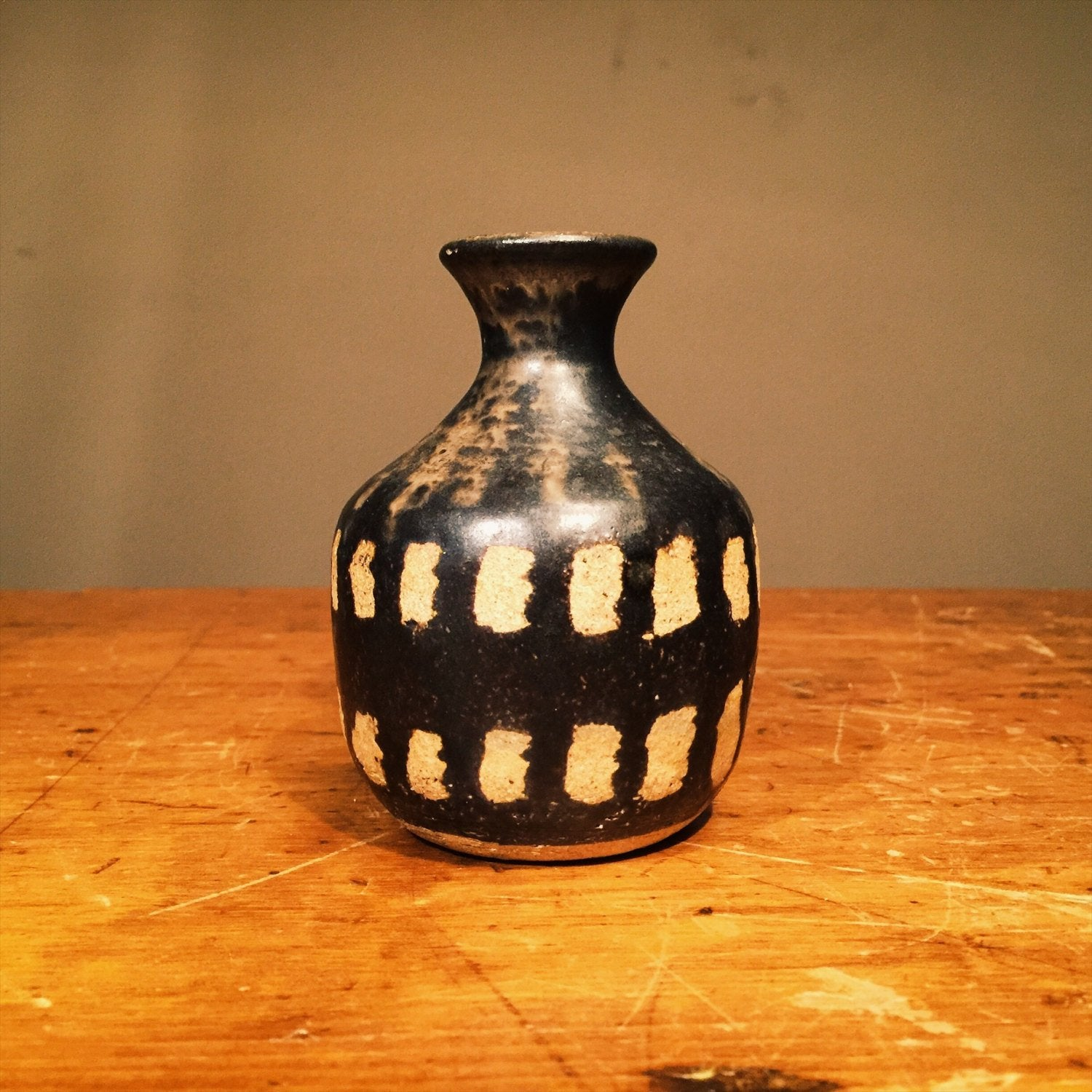 Vintage Art Pottery Vessel - Signed Brooks - Black and White - Skeleton Teeth - Gun metal glaze