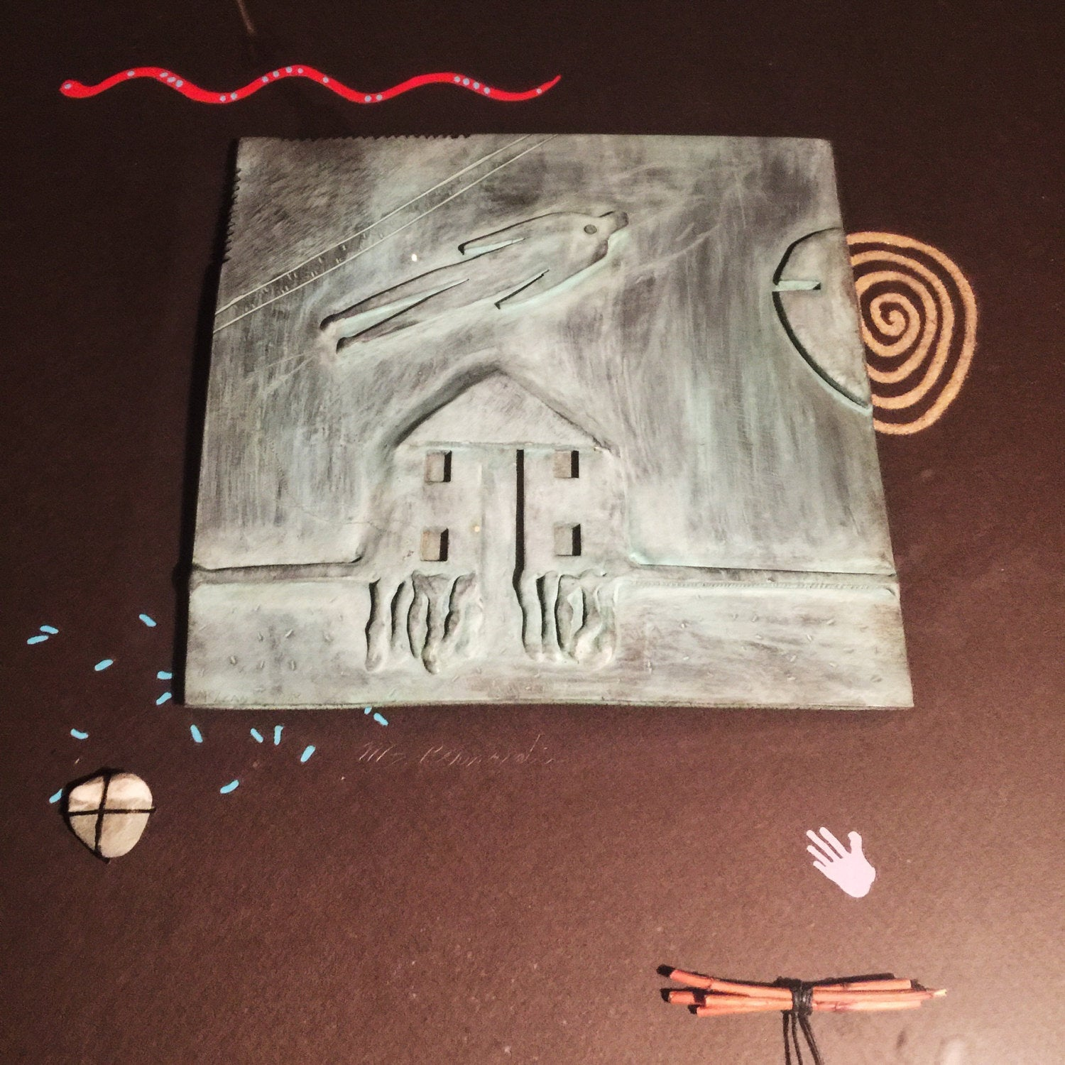 Jack McLean Bronze Wall Art Piece - Tile Art 0 1989 - Signed - Shadowbox Collage - Haunting - Ghost - Mixed Media