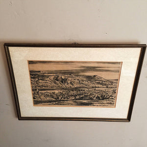 Franz Maria Jansen Woodcut of Rhine River - 1927 - Rare - Degenerate Art - Pencil Signed - Framed - Hein W. Heroth Munish stamp - Germany