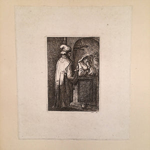 Full view of 19th Century English Engraving of Monks and Hanging Animal