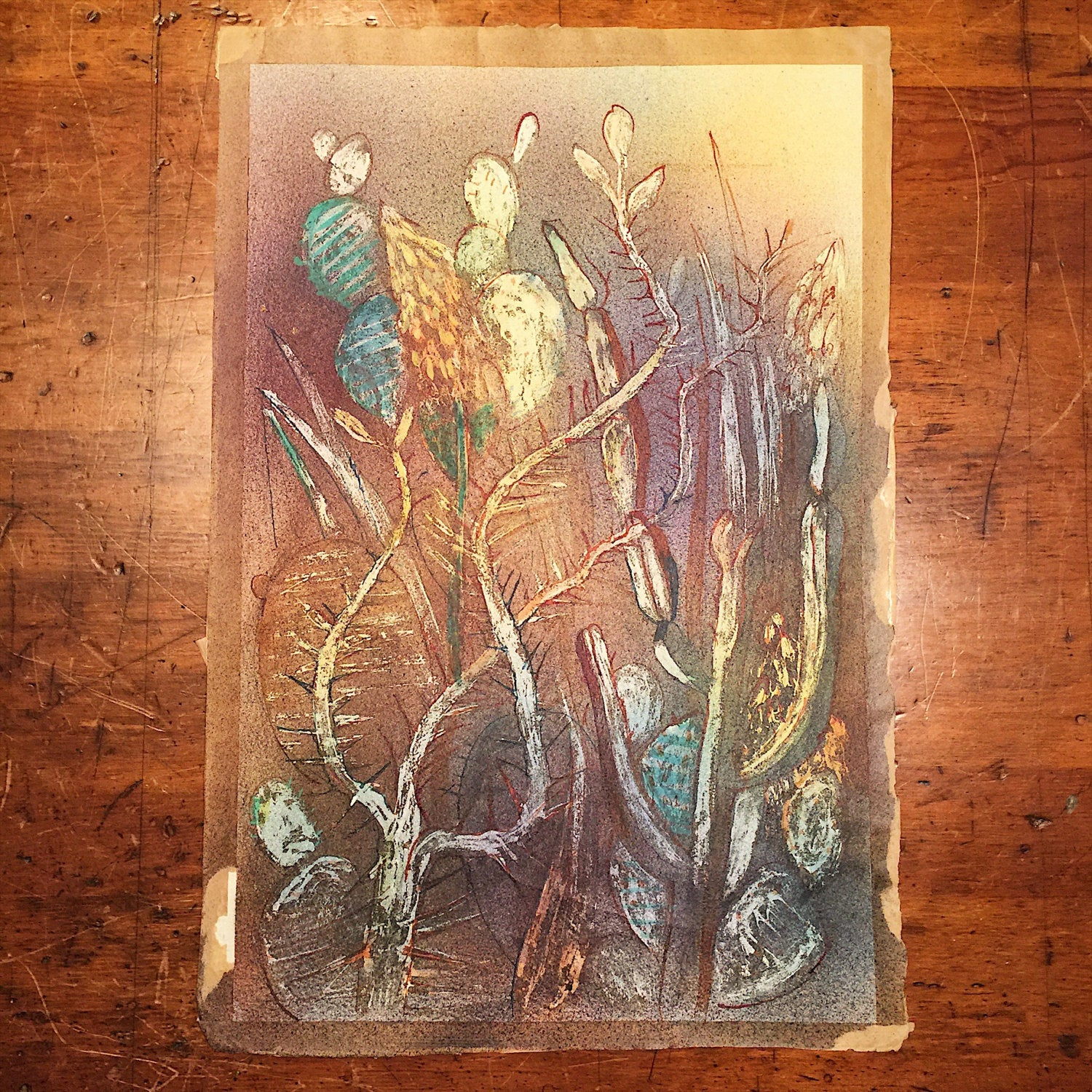 "Vintage Ink Resist Paintings - 1954 - Signed ""Parlin"" - Set of 2 - Watermarked - Unframed - Mystery Artist - Art Nouveau - Psychedelic"