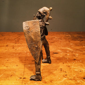 Vintage Bronze Warrior Sculpture - 1960s? - Mystery Artist - Bizarre - Spear - Joker - Shield