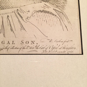 "Richard Earlom engraving ""Prodigal Son"" - After Salvator Rosa - 18th Century Engraving - 1766 - Museum Piece- John Boydell - British print"