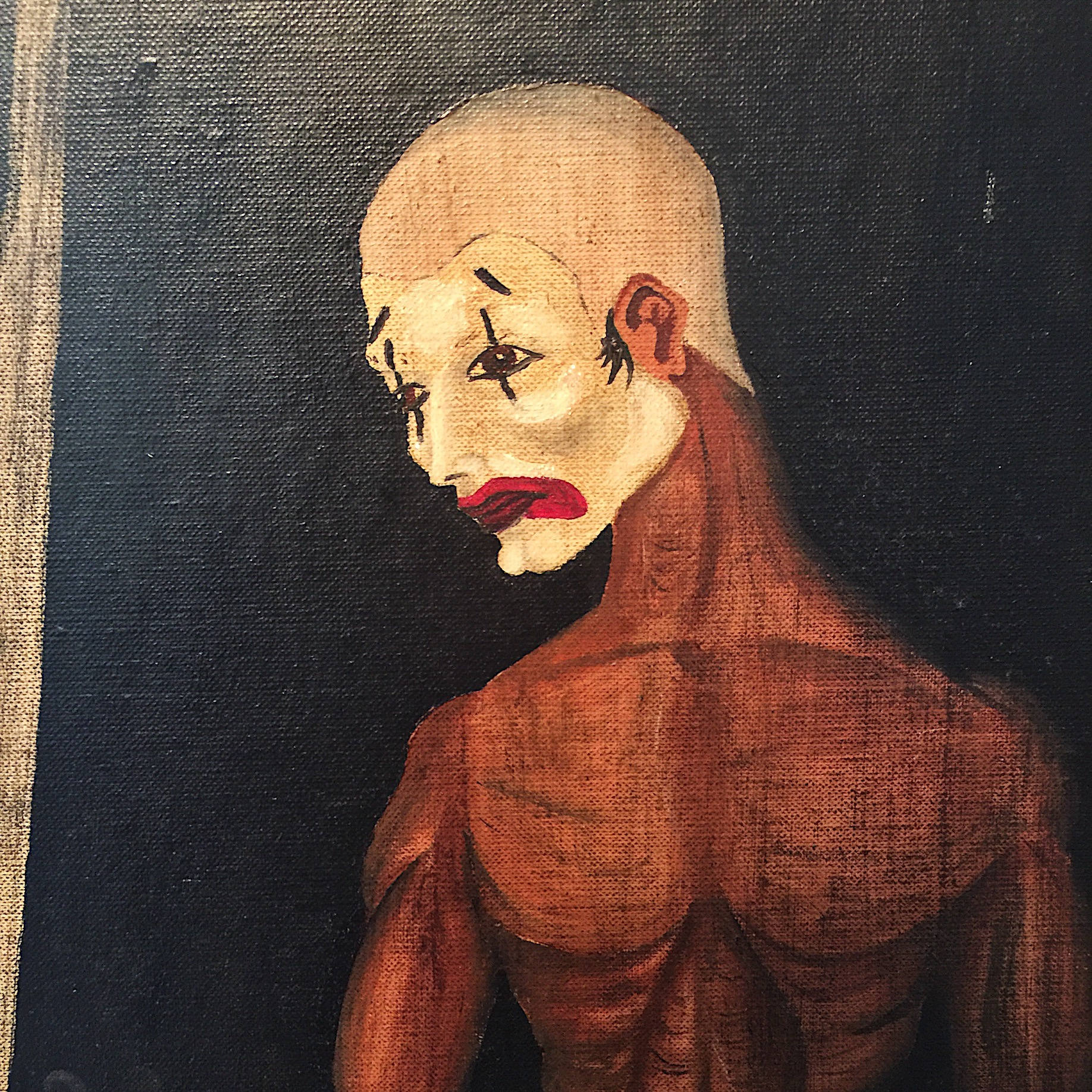 Vintage Creepy Painting of Clown Mime - Signed - 1950s? - Mystery Artist - Morbid Painting - Oil on Canvas Board - The Crow - Outside Art