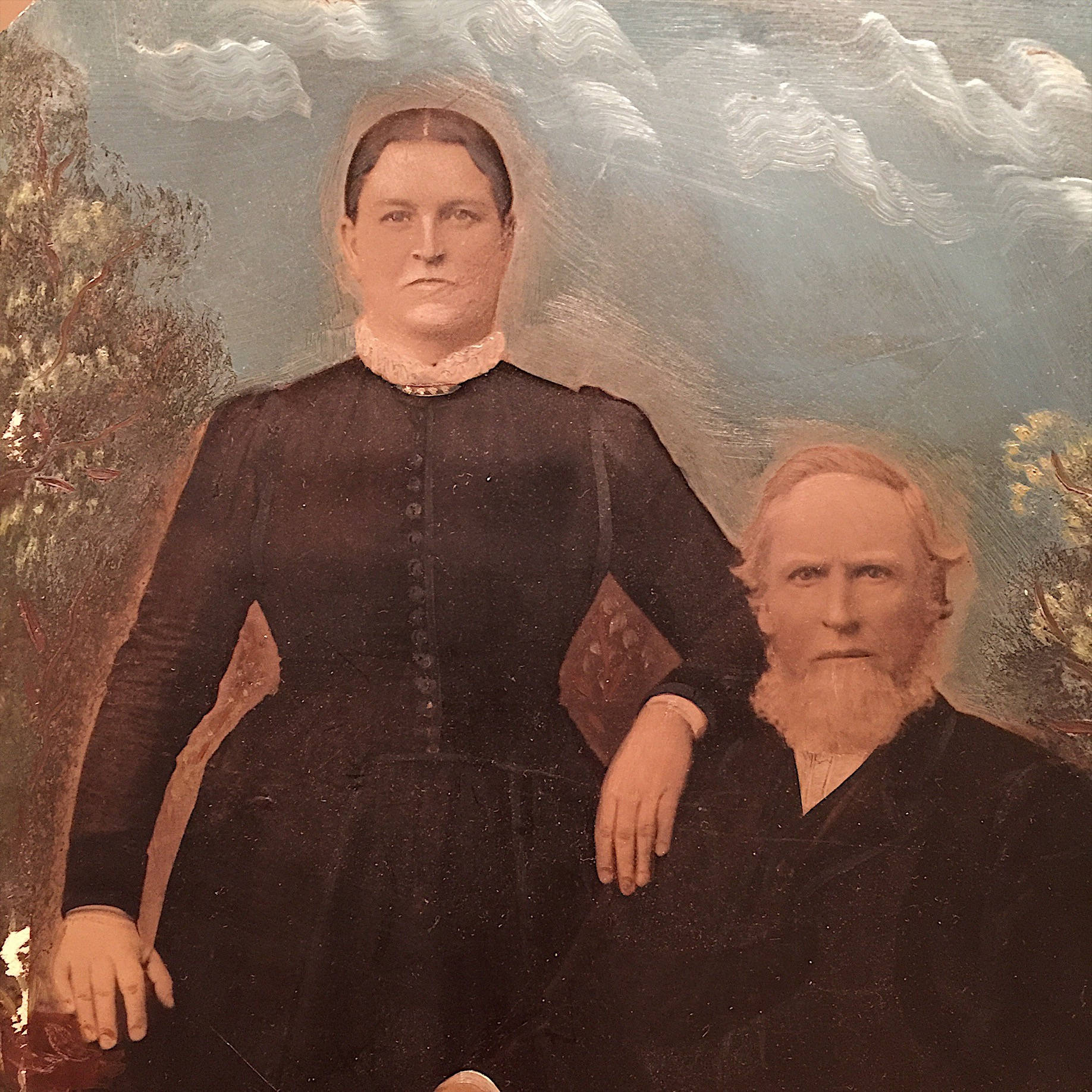 "Large Tintype of Creepy Couple - Hand Painted - Full Plate - 10"" x 7"" - Vintage Photography - Antique Daguerreotype - Creepy Wall Decor"