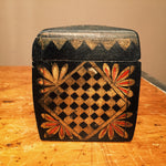 Vintage Hand Painted Wood Box - Checkers - Chess - Vintage Trinket Box