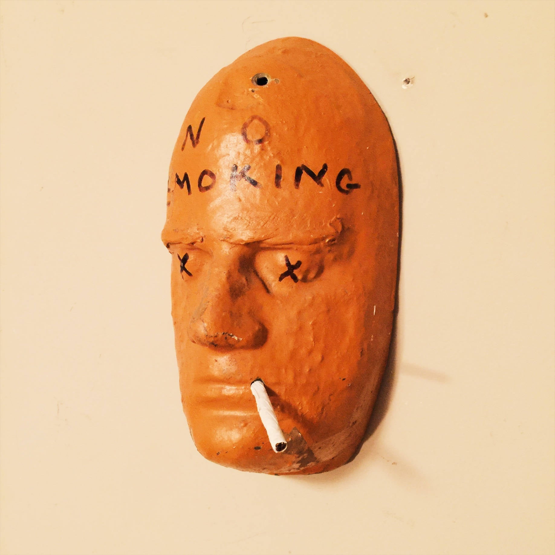 "Vintage Death Mask  ""No Smoking"" Sign - Face Form - Unusual Wall Art - Tobacciana - Vintage Smoking Memorabilia"