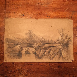 John Sell Cotman Miles Edmund Cotman Pencil Ink Wash Artwork - Early 1800s - Pencil Signed Dated - Norwich Artist - Museum Piece