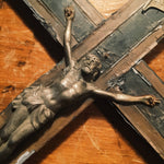 Antique Crucifix with Smiling Skull and Crossbones - Inlay Wood - Turn of the Century - Priest Nuns Crucifix - Religious Wall Art - Rare