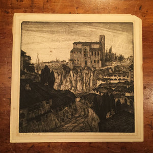 Lino Bianchi Barriviera Etching - La Cattedrale Abbandonata - 1932 - Italian Artist - Rare - Pencil Signed - Limited Edition - 12 of 50