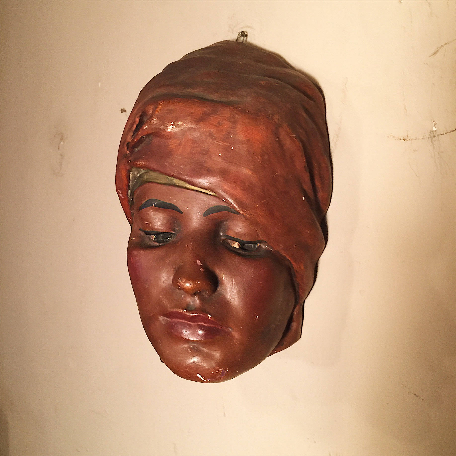 Vintage Plaster Bust of Woman in Headdress - 1950s? - Vintage Wall Art - Painted Plaster Sculpture - Vintage Wall Sculpture