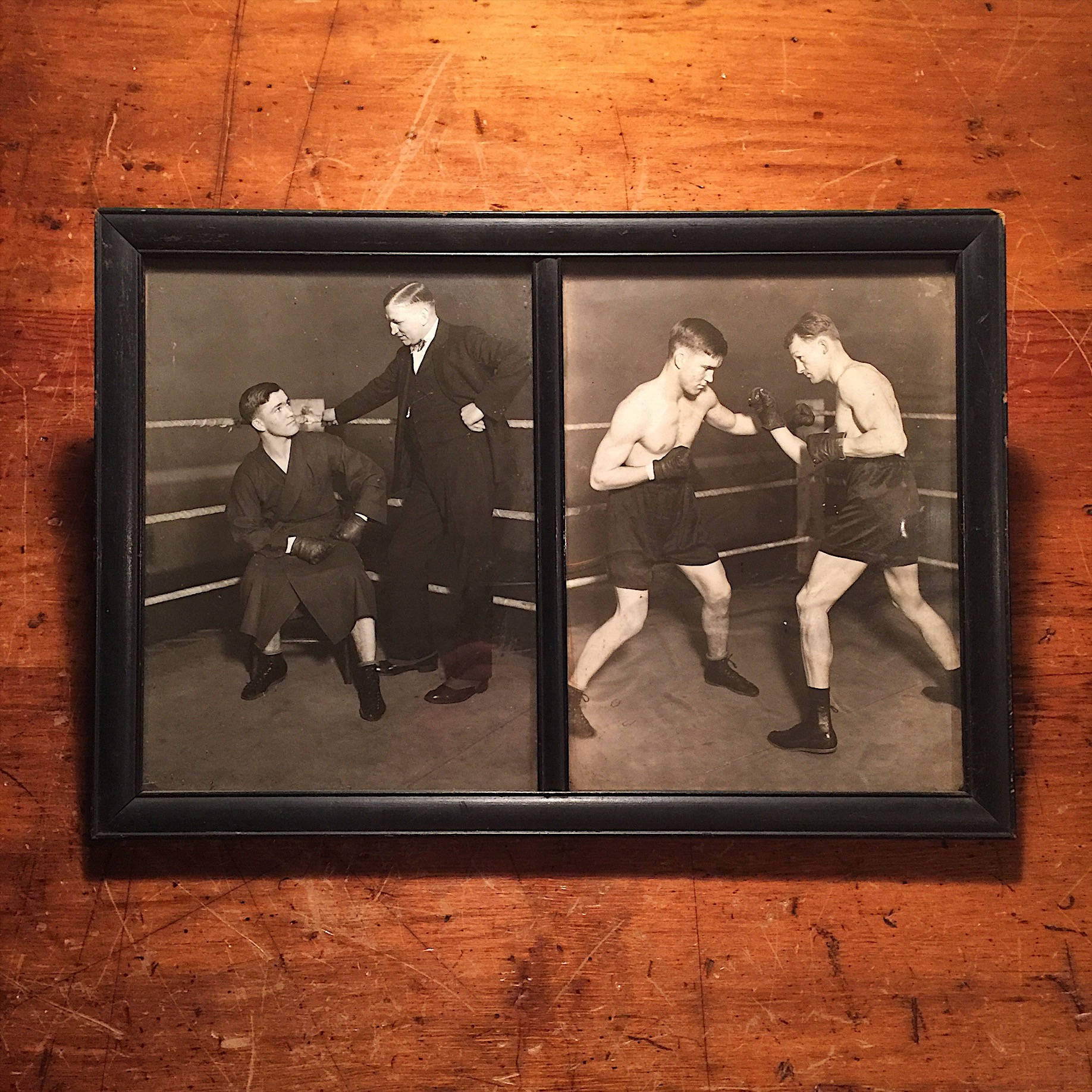 Boxing Photography Display 1920s - St. Paul Boxing History - Boxing Memorabilia - Boxer Estate - Sparring -Framed Boxing Photos