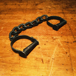 Antique Sheriff Handcuffs with Unusual Chain Size - Cast Iron Shackles - 1800s Forged Metal - Missing Key - Police Collectibles -Military?