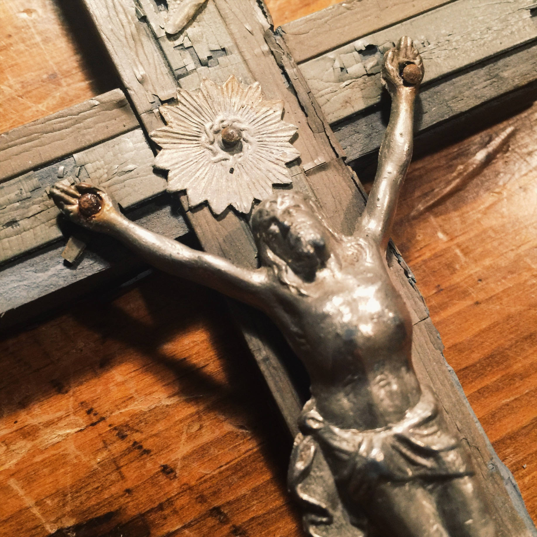 Antique Crucifix with Skull and Crossbones - Inlay Wood - Turn of the Century - Priest Nuns Crucifix - Religious Wall Art - Rare Crucifix
