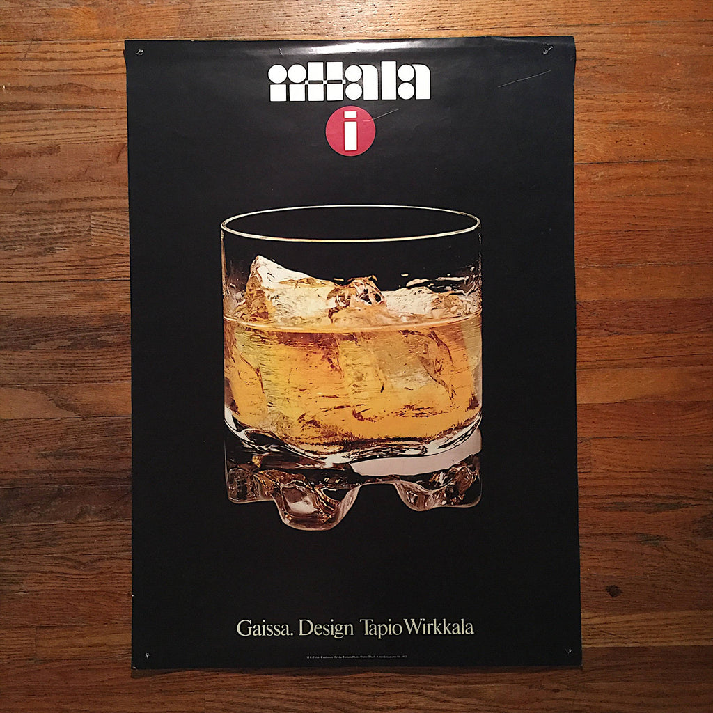 Vintage Iittala Gaissa Barware Poster - 1973  - Cocktail memorabilia - Rare Vintage Poster - Vintage Wall Decor - Cocktail Advertisement