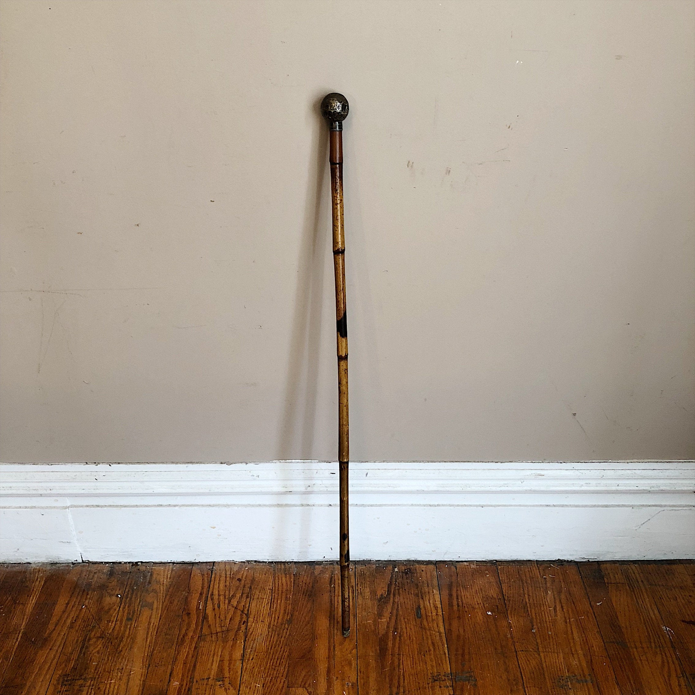 Antique Silver Walking Cane with Bamboo Shaft - British - London 1886 - Hallmarked - Sterling Silver Marks - Victorian Cane - Peaky Blinders