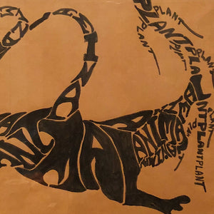 Vintage Psychedelic Artwork of Wild Animal - 1960s - Counter Culture - Mystery Artist - Funky Letters - Rare Hippy Art -