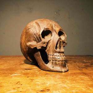 Vintage Wood Carved Skull - India - 1970s? - Hand Carved - Life Size - Ornate Carving - Oddity - Unusual Art Carvings - Creepy Carving