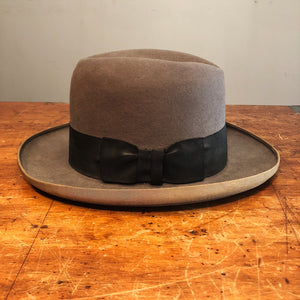 Vintage Saks Fifth Avenue Fedora Hat - Gray Felt Wide Brim - Size 7 1/3? -