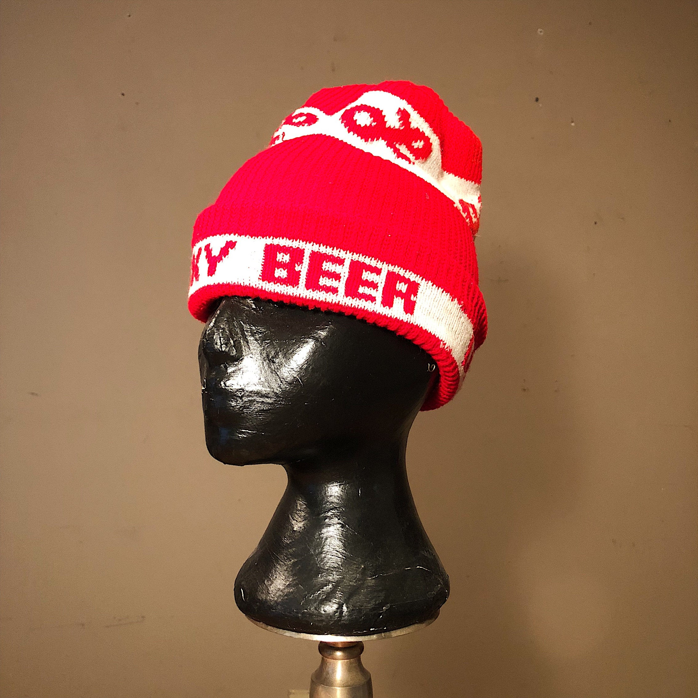 Vintage Lucky Beer Stocking Cap - 1970s? - Hipster Cap - Lucky Lager Stocking Cap - Vintage Stocking Caps - Beanie Caps - Hipster Caps