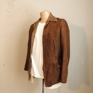 Left side view of 1930s Workwear Suede Leather Jacket
