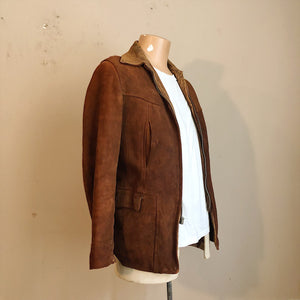 Side and T-shirt with 1930s Workwear Suede Leather Jacket