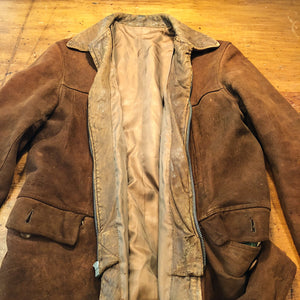 Front interior of 1930s Workwear Suede Leather Jacket