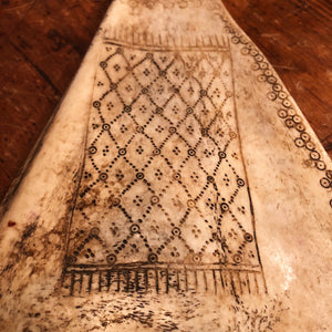 Vintage Indonesian Scrimshaw Bone Fan - Ceremonial Artifact - Buffalo Scapula - Easter Island - Ancient Rug - Wall Deoor Carving