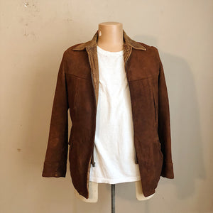 Front and T-Shirt with 1930s Workwear Suede Leather Jacket