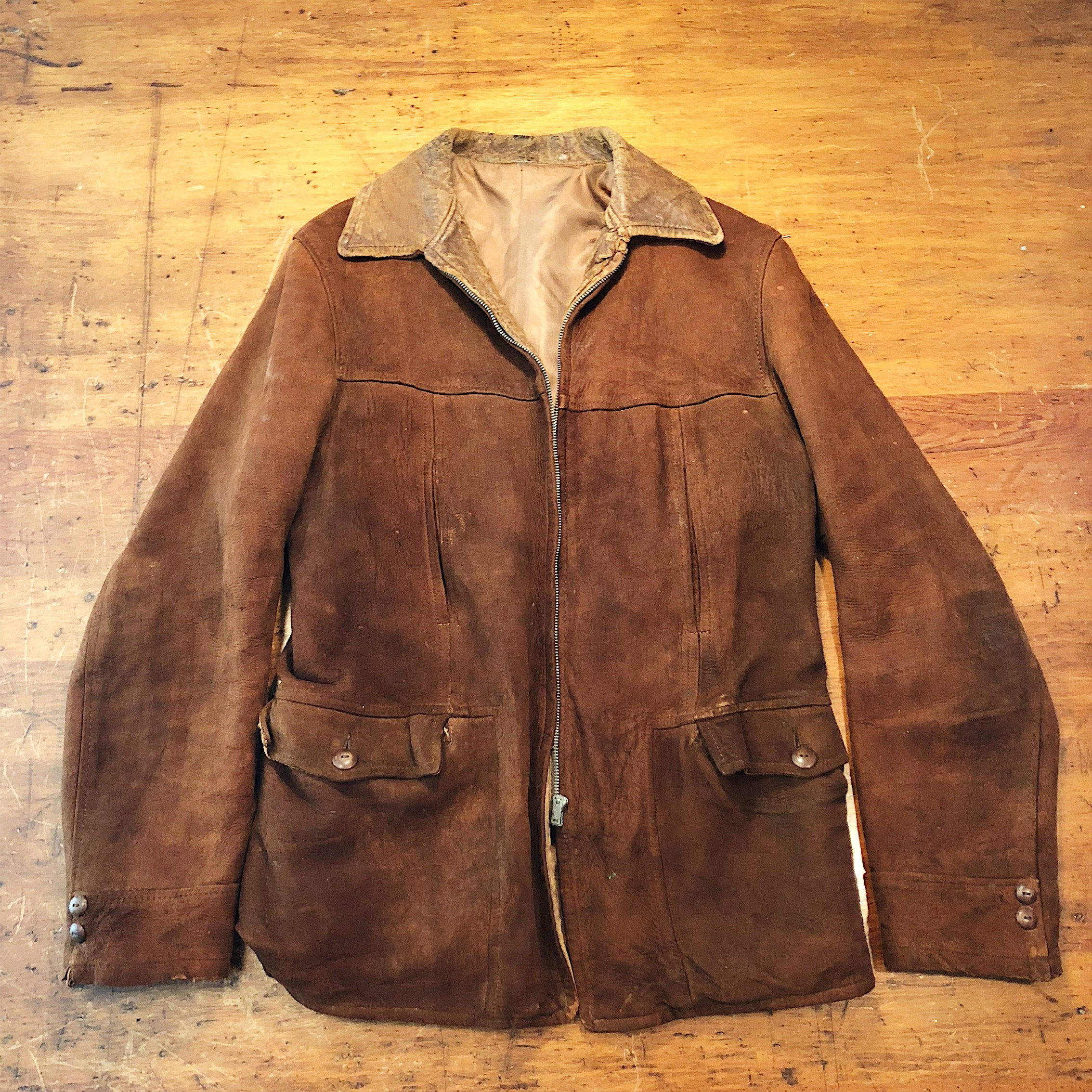 Front view of 1930s Workwear Suede Leather Jacket