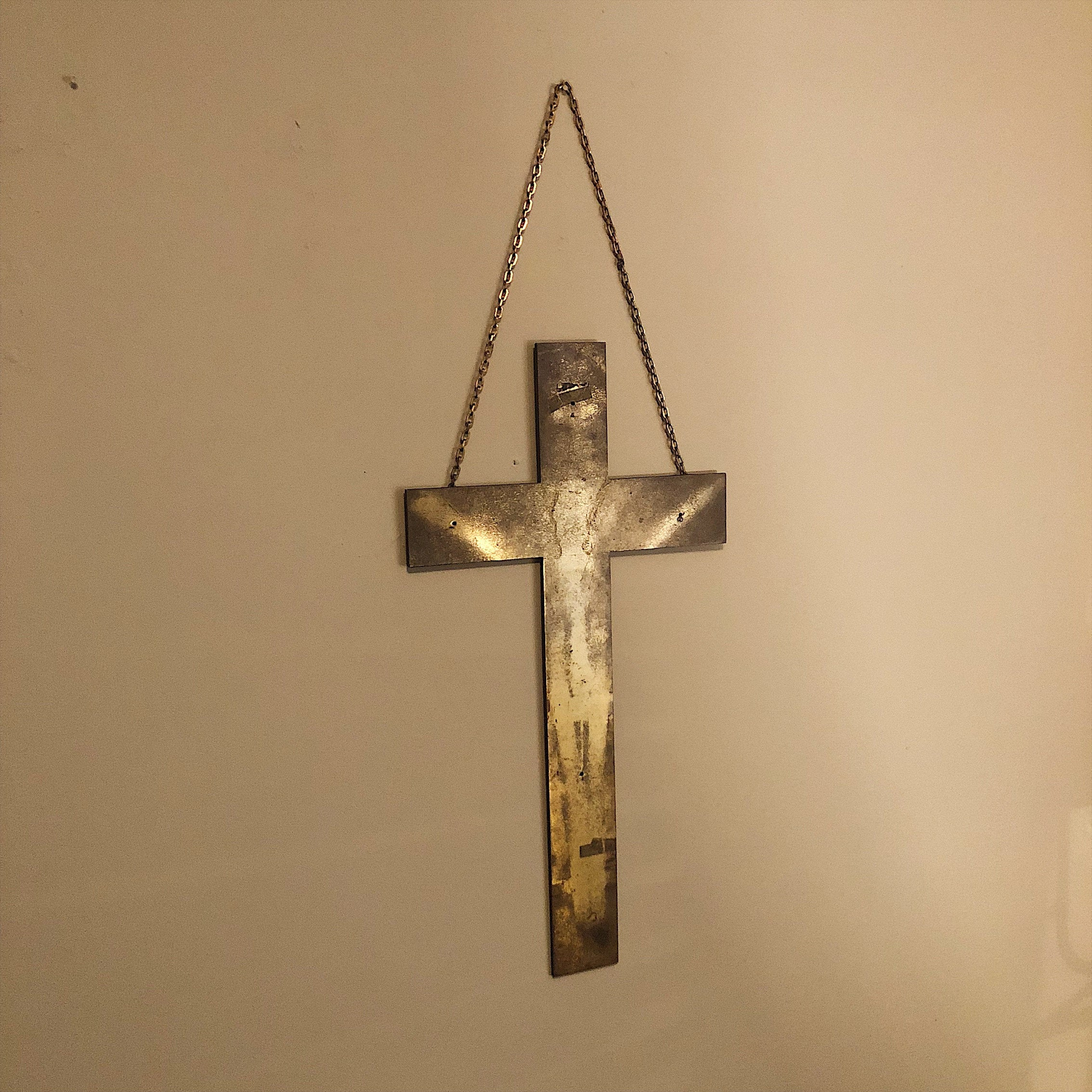 "Huge Brass Crucifix Cross with Christ Impression - 26"" x 16"" - Religious Relic -1940s? - Wall Decor - Chain Link Wall Hanging - Rare"