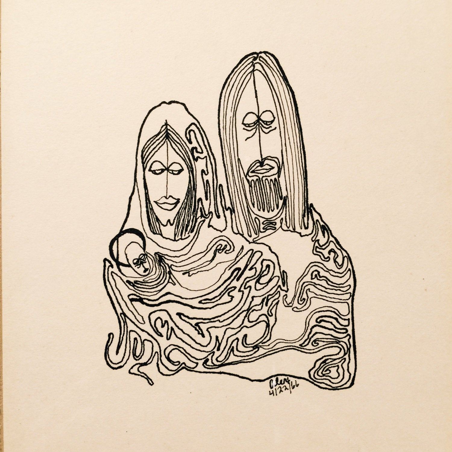 Psychedelic Ink Drawing of Jesus, Mary and Joseph - Framed - Signed - 1966 - Vintage