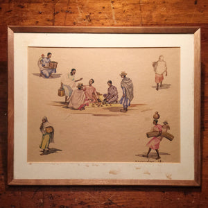 Vintage African Watercolor Paintings (2) - Signed N. Ramanoelina - Madagascar Figures - Rustic Scenes - 1948