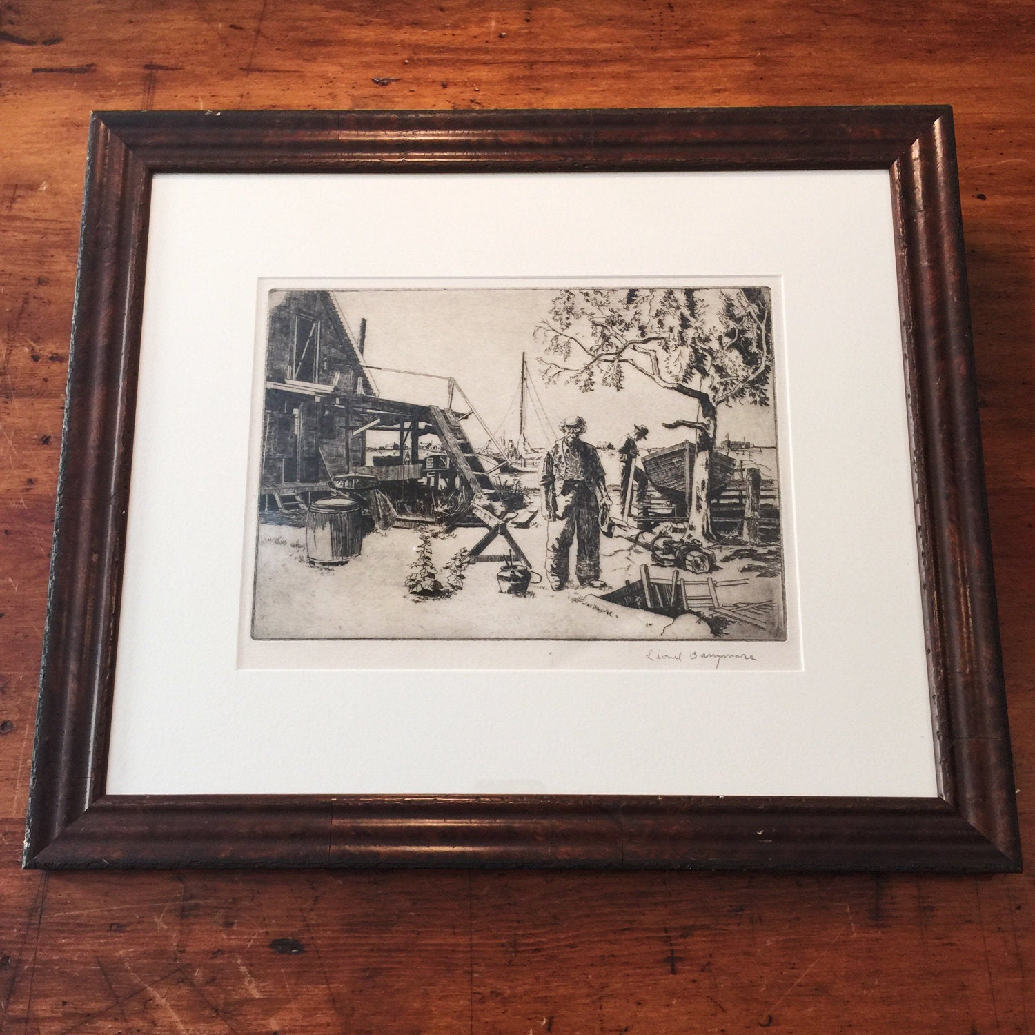 Lionel Barrymore Woodcut - Point Mugu - Signed in Pencil - Authentic - Vintage - Framed - Hollywood Art - Drew - Rare