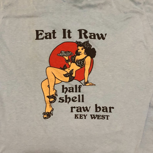 Vintage Eat It Raw T-Shirt - Half Shell Raw Bar Key West - Pin up Shirt - 1990s - Hot Rod Culture Clothing - Medium?
