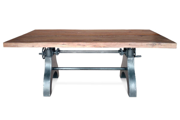 Adjustable Crank Dining Table - Cast Iron Base Embossed KNOX - Rustic Deco Incorporated