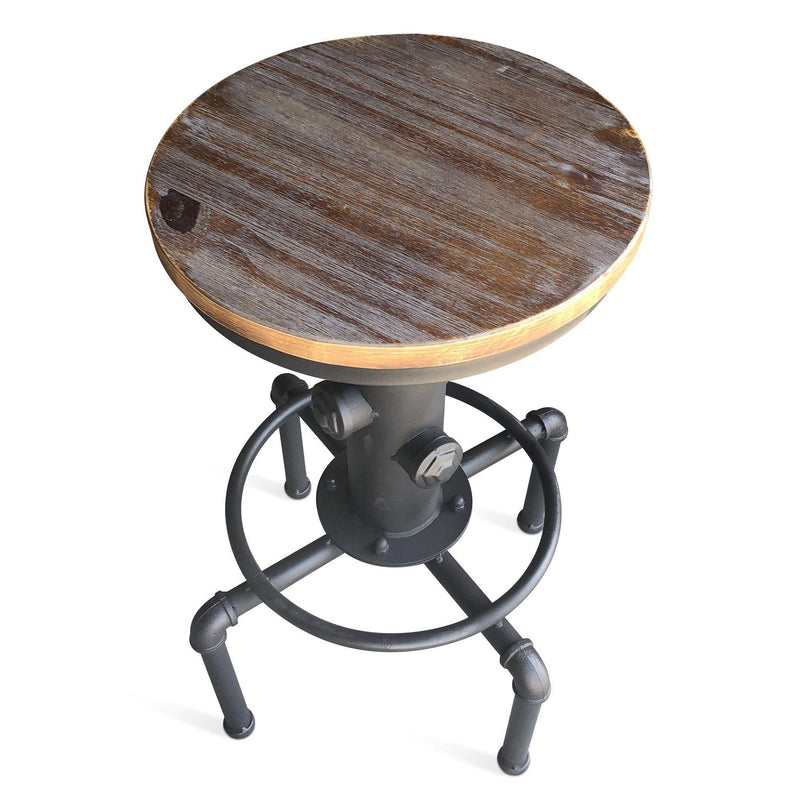 Water Pipe Fire Hydrant Industrial Stool - Hardwood Swivel Seat - Barstool Pair - Rustic Deco Incorporated