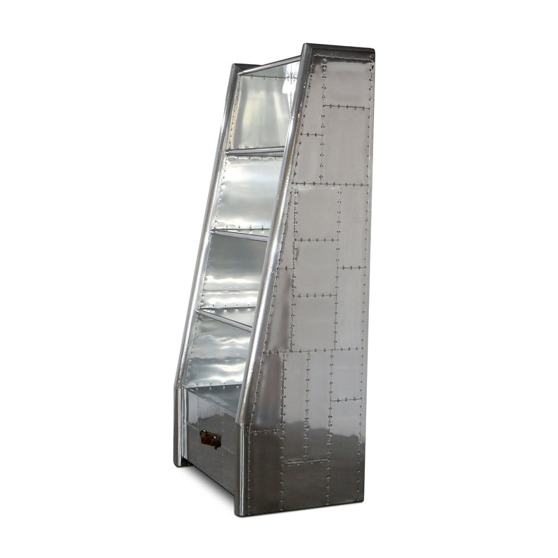 Aviation Polished Aluminum Bookcase With Drawer - WWII Fighter Wing - Rustic Deco Incorporated