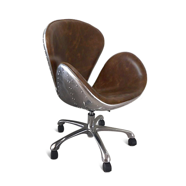 Aviator Office Swan Chair - Casters - Genuine Leather - Polished Aluminum - Rustic Deco Incorporated