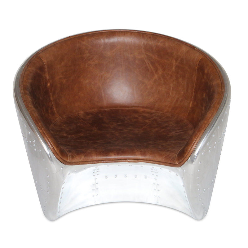 Aviator Mid-Century Modern Round Club Chair - Genuine Leather - Rustic Deco Incorporated