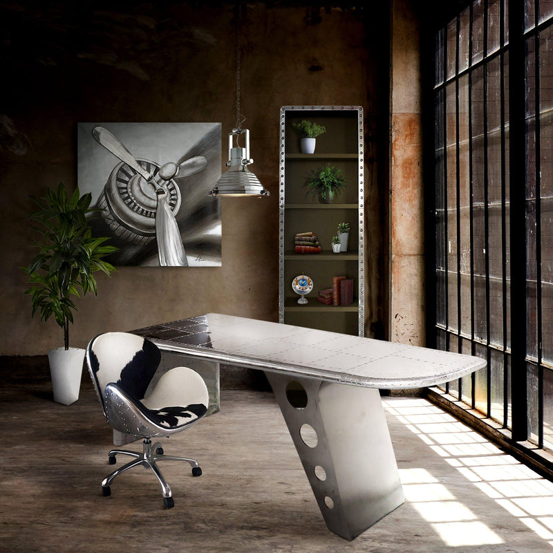 Aviator Office Swan Chair - Casters - Polished Aluminium - Genuine Cowhide - Rustic Deco Incorporated