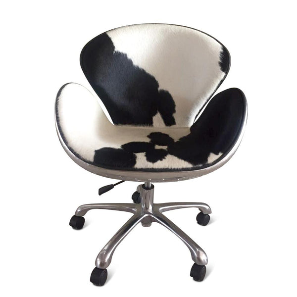 Aviator Office Swan Chair - Casters - Polished Aluminium - Genuine Cowhide-Rustic Deco Incorporated