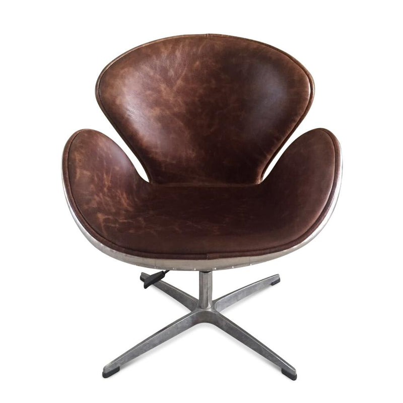 Aviator Swan Chair - Polished Aluminium - Genuine Leather - Swivel Adjustable - Rustic Deco Incorporated