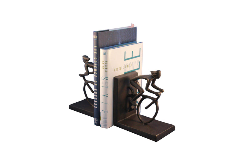 Bicycle Racing Bookends - Metal - Cast Iron Sculpture - Abstract Art-Rustic Deco Incorporated