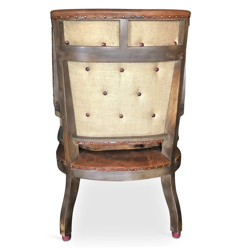 Deconstructed Cigar Club Chair - Brown Tufted Leather - Cowhide Seat - Rustic Deco Incorporated