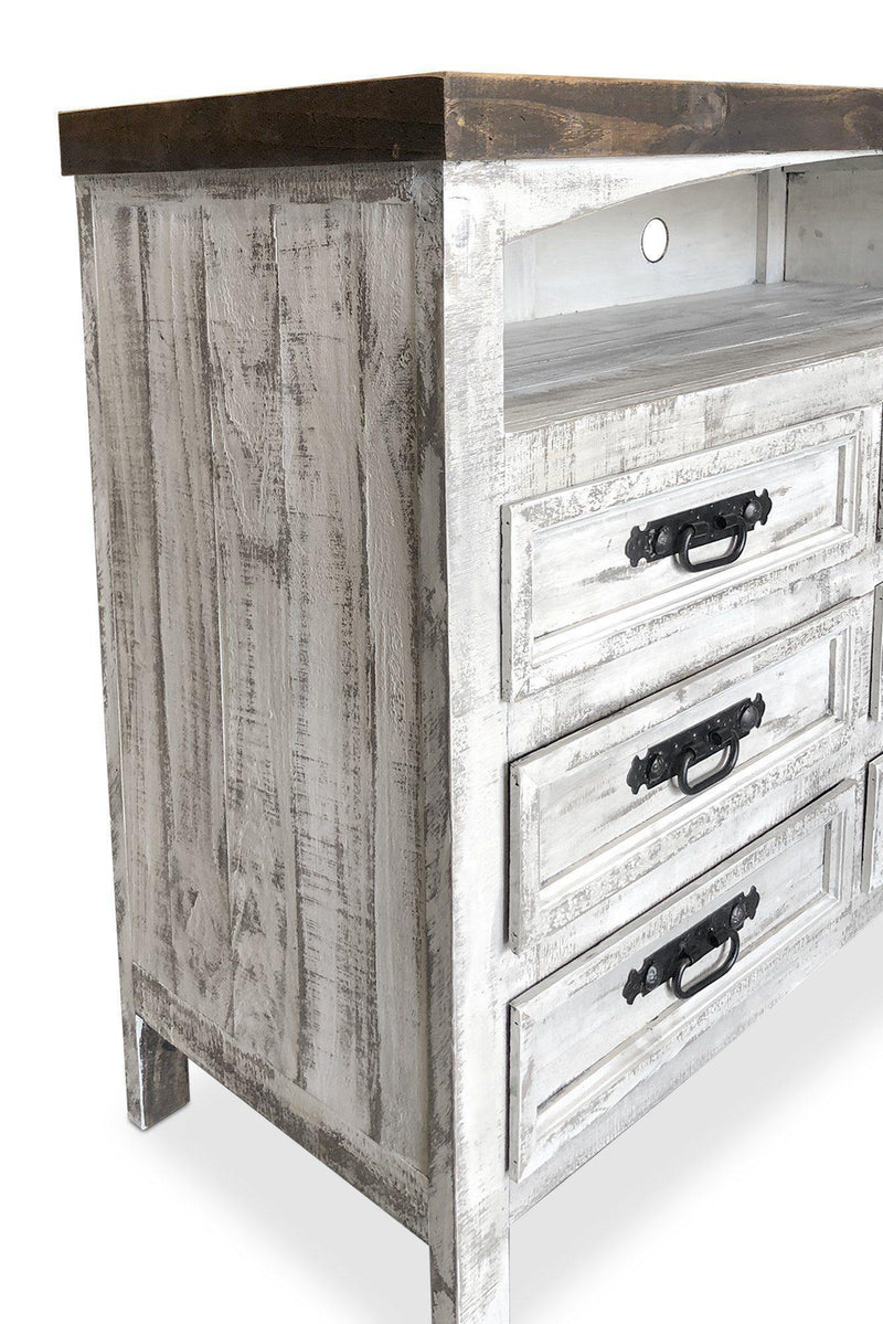 "Farmhouse Media TV Console - Distressed Handcrafted Solid Wood 50"" - Rustic Deco Incorporated"